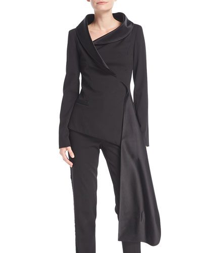 Long-Sleeve Asymmetric Wrap Stretch-Wool Jacket