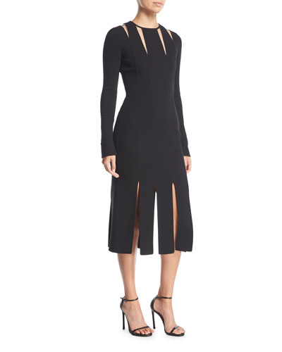 Long-Sleeve Cutout Wool Knit Midi Cocktail Dress w/ Carwash Hem