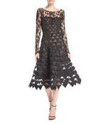 Long-Sleeve Floral-Lace Geometric-Cutouts Illusion Cocktail Dress