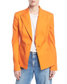 Oscar de la Renta One-Button Stretch-Wool Gabardine Jacket