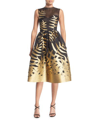 Metallic Leaf Fil Coupe Cocktail Dress