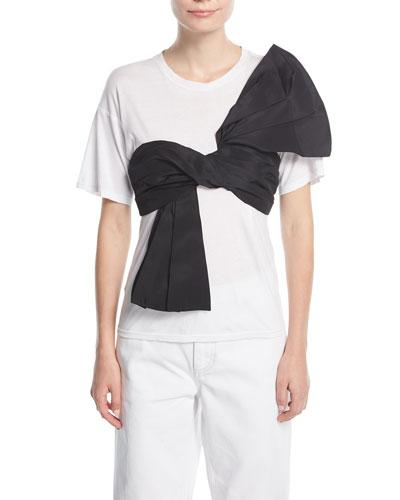 Crewneck Cotton T-Shirt w/ Front Bow Sash