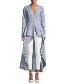 Rio Grande Striped Floor-Length Linen Blouse