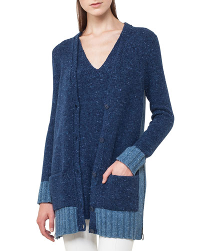 Button-Front Mélange Cashmere Cardigan Sweater