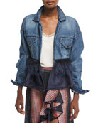 Jose Clemente Button-Front Denim Jacket w/ Feather Trim