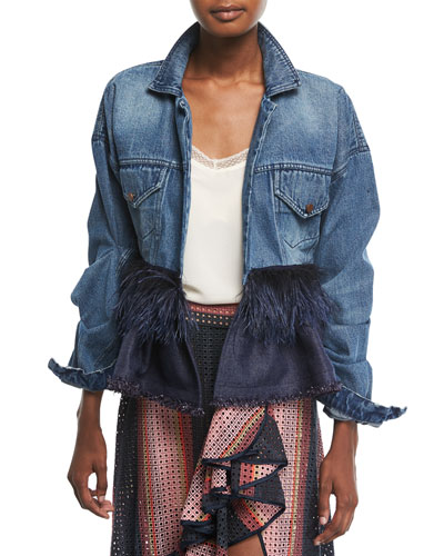 Jose Clemente Button-Front Denim Jacket w/ Feather Trim