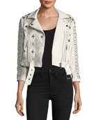 Vendome Saturday Studded Leather Moto Jacket