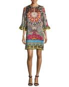 Mandala-Print Silk Shift Dress