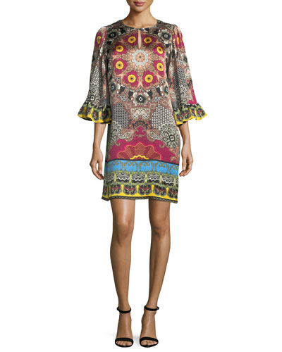 Mandala-Print Silk Shift Dress
