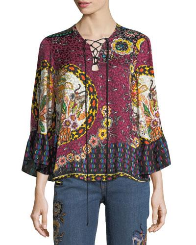 Jungle Floral-Print Silk Lace-Up Blouse