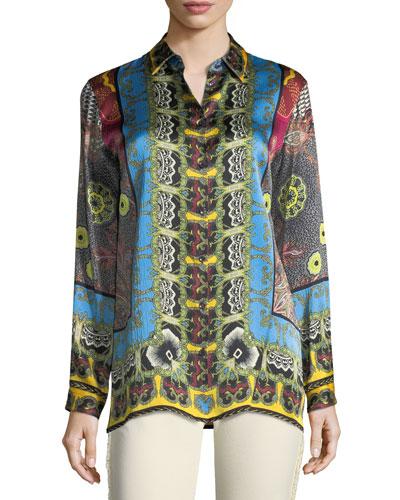 Button-Front Mandala-Print Silk Shirt