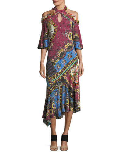 Halter Cold-Shoulder A-Line Midi Dress