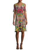 Tropical Paisley Cold-Shoulder Dress