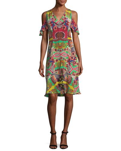 Tropical Paisley Cold-Shoulder Dress