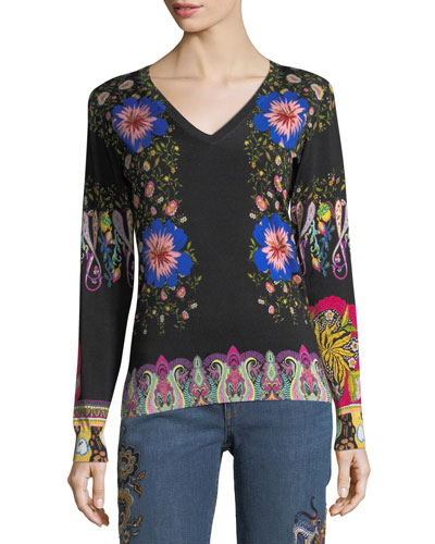Floral-Print V-Neck Sweater