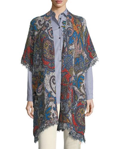Boucle Floral-Print Vest