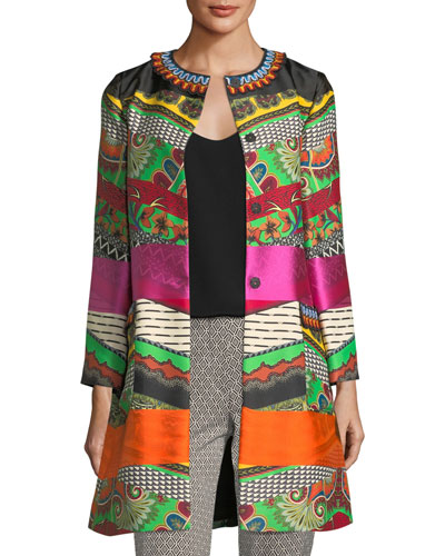 Embroidered Ribbon Floral-Print Car Coat