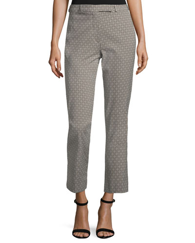 Geometric-Print Cropped Straight-Leg Pants