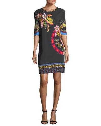 Floral-Print Silk Shift Dress