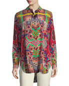 Tropical-Paisley Print Button-Front Silk Tunic Shirt
