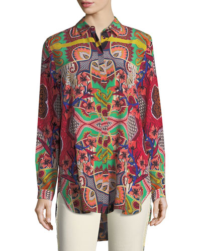 Etro tropical paisley print button front silk tunic shirt