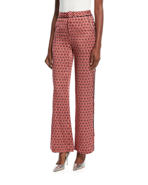 Acapulco Desert Tile-Print Straight-Leg Silk Satin Pants