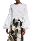 Catrina Round-Neck Balloon-Sleeve Pima Cotton Poplin Top