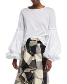 Catrina Round-Neck Balloon-Sleeve Pima Cotton Poplin Top