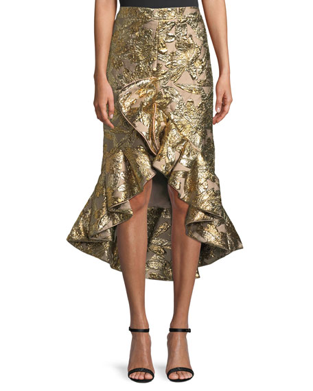 Johanna Ortiz Metallic Jacquard Ruffle Evening Skirt
