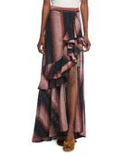 Los Alamos Ruffle-Front Stripe Eyelet Long Skirt