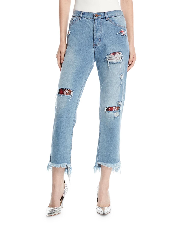 Taco De Alarcon Straight-Leg Distressed Boyfriend Jeans w/ Sequin Patches
