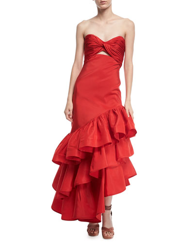Spicy Margarita Strapless Bustier Ruffle Tiered Silk Faille Evening Dress