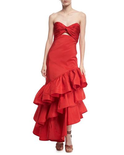 Spicy Margarita Strapless Bustier Ruffle Tiered Silk Faille Evening Dress