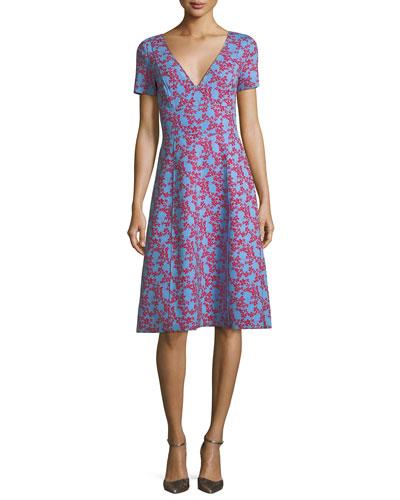 V-Neck Short-Sleeve Floral-Print Dress
