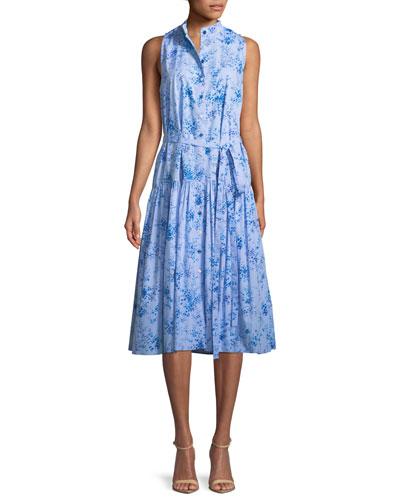 Button-Front Sleeveless Floral-Print Poplin Midi Dress