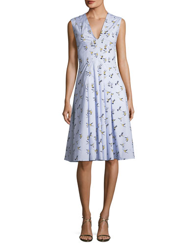 V-Neck Sleeveless Bird-Print Midi Dress