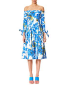 Off-the-Shoulder Floral-Print Tie-Sleeves Midi Day Dress