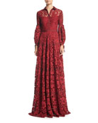 Full-Sleeve Lace Gown