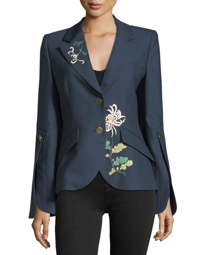 2-Button Flare-Sleeves Floral-Embroidered Wool Jacket