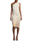 Gradient Polka Dot One-Shoulder Dress