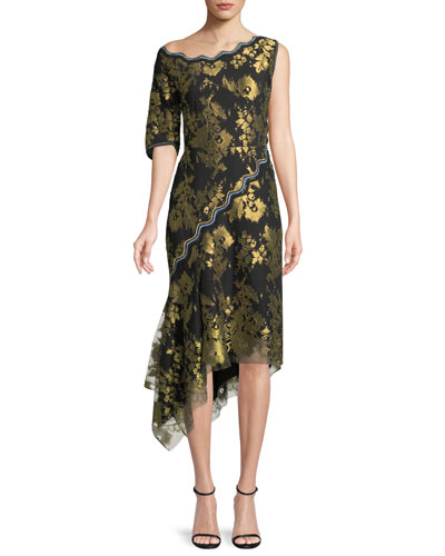 Asymmetric Metallic Jacquard Midi Cocktail Dress w/ Handkerchief Hem