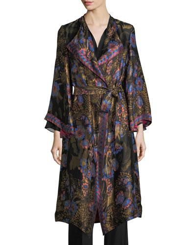 Floral Jacquard Kimono Coat