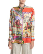 Silk Twill Engineer Circus-Print Shirt