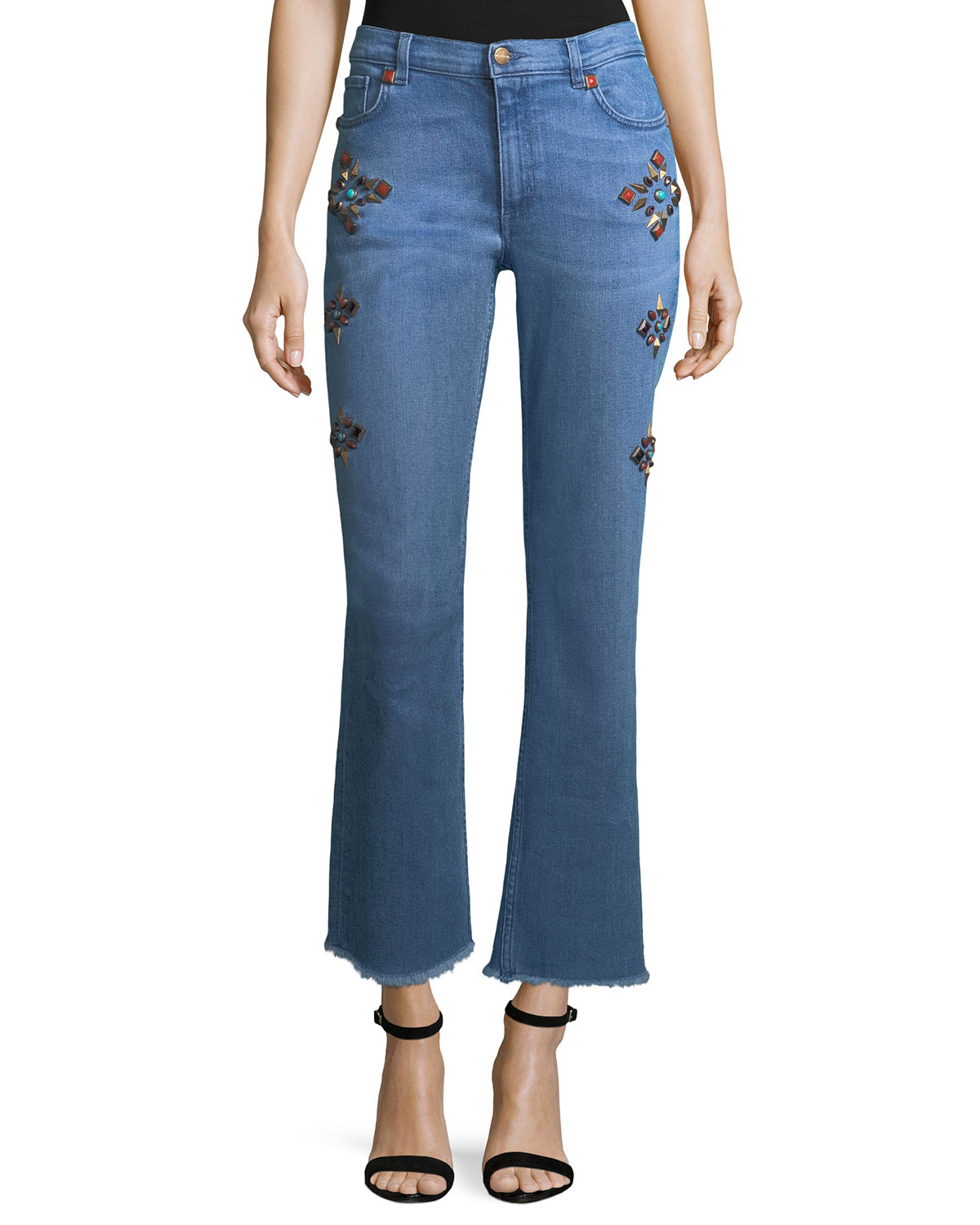High-Rise Flare-Leg Jeans w/ Studs
