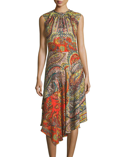 Shirred-Neck Paisley-Print Dress