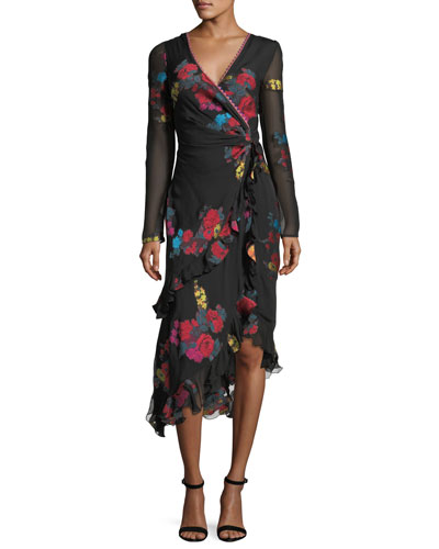 Floral-Print Silk Faux-Wrap Midi Cocktail Dress