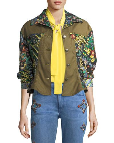 Geometric Floral Jacquard Army Jacket