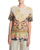 Sequined Linen Tunic Top