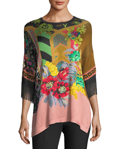 Pillar-Print Knit Tunic w/ Fringe Sleeves