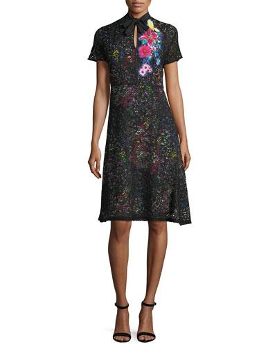 Lace Over Multi-Print Dress